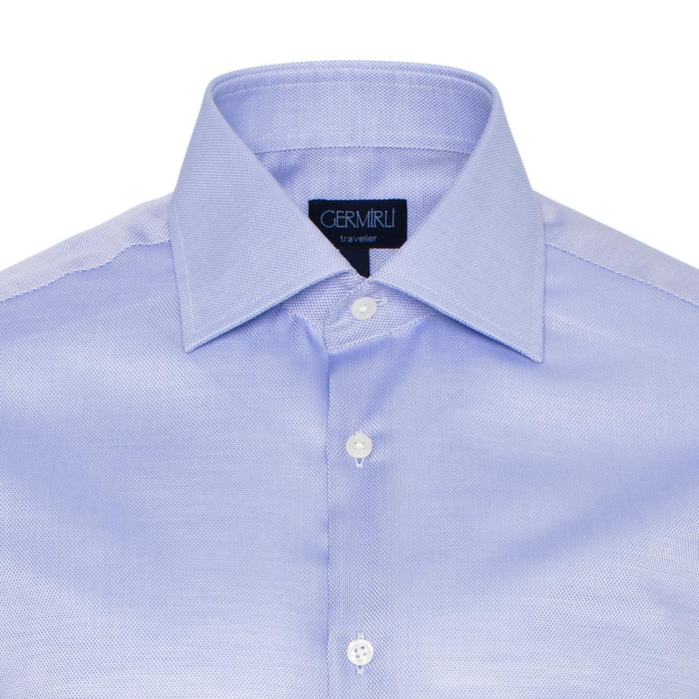 Germirli Non Iron Koyu Mavi Oxford Klasik Yaka Tailor Fit Swiss Cotton Gömlek