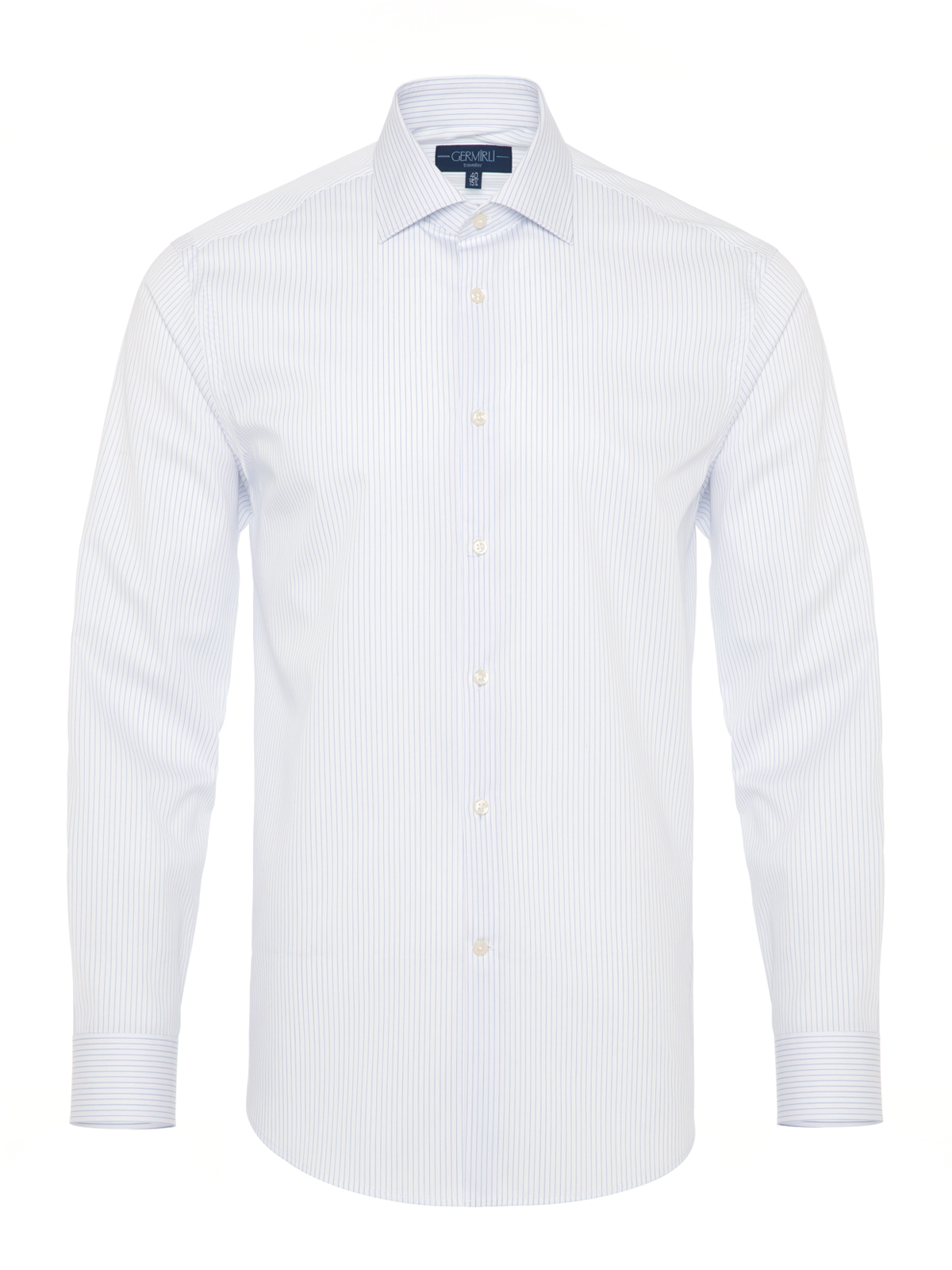 Germirli - Germirli Non Iron Navy Stripe Semi Spread Tailor Fit Shirt