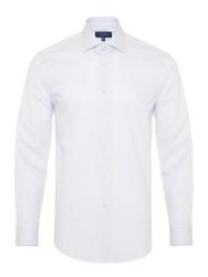 Germirli - Germirli Non Iron Lacivert Çizgili Klasik Yaka Tailor Fit Gömlek