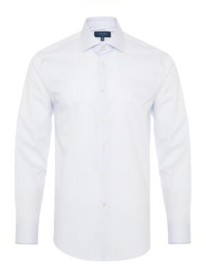 Germirli - Germirli Non Iron Navy Stripe Semi Spread Tailor Fit Shirt