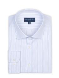 Germirli - Germirli Non Iron Navy Stripe Semi Spread Tailor Fit Shirt (1)