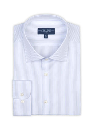 Germirli - Germirli Non Iron Navy Stripe Semi Spread Tailor Fit Shirt (1)