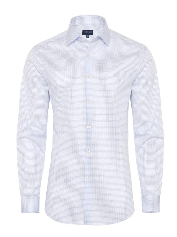 Germirli Non Iron Laci Kareli Klasik Yaka Tailor Fit Gömlek