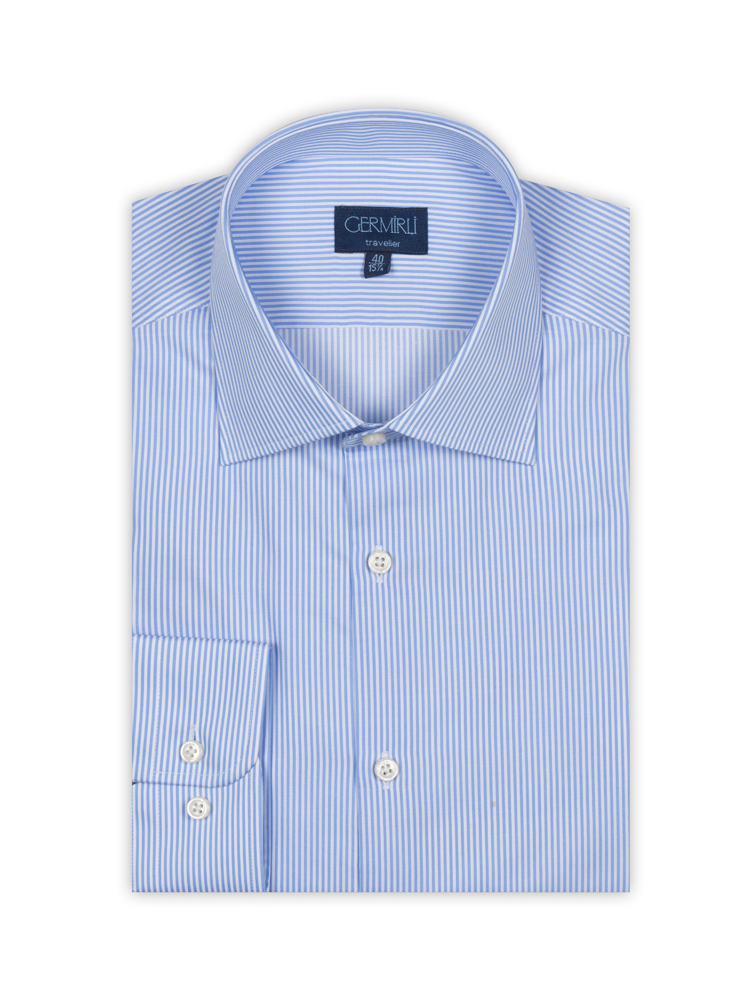 Germirli Non Iron Light Blue Pencil Stripe Tailor Fit Shirt