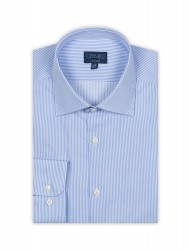 Germirli - Germirli Non Iron Light Blue Pencil Stripe Tailor Fit Shirt (1)