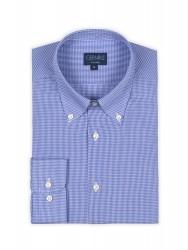 Germirli Non Iron Light Blue Plaid Button Down Tailor Fit Shirt - Thumbnail