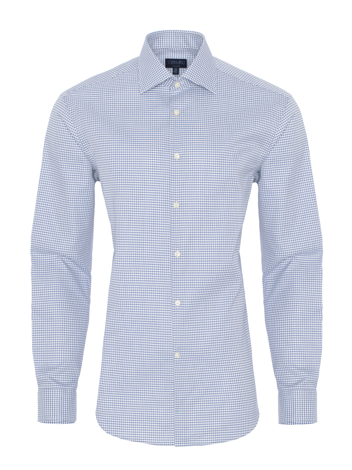 Germirli Non Iron Light Blue Plaid Semi Spread Tailor Fit Journey Shirt