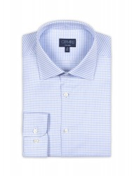 Germirli Non Iron Light Blue Plaid Semi Spread Tailor Fit Journey Shirt - Thumbnail