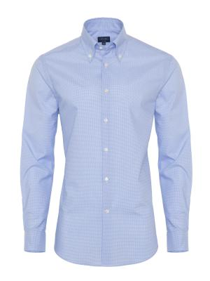 Germirli - Germirli Non Iron Light Blue Plaid Tailor Fit Shirt