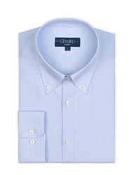 Germirli Non Iron Light Blue White Plaid Button Down Collar Tailor Fit Zero 24 Shirt - Thumbnail