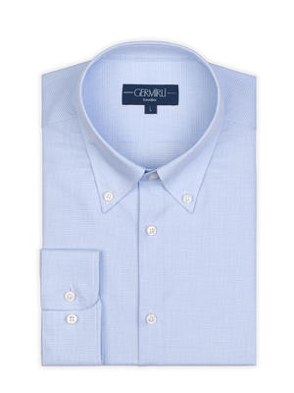 Germirli - Germirli Non Iron Light Blue White Plaid Button Down Collar Tailor Fit Zero 24 Shirt (1)