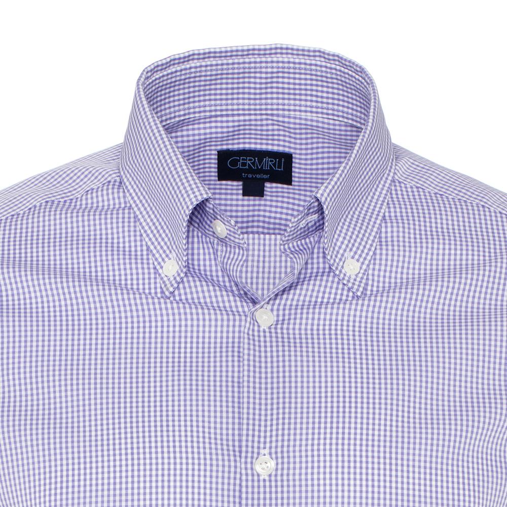 Germirli Non Iron Lila Beyaz Kareli Düğmeli Yaka Tailor Fit Swiss Cotton Gömlek