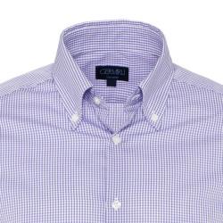 Germirli Non Iron Lila Beyaz Kareli Düğmeli Yaka Tailor Fit Swiss Cotton Gömlek - Thumbnail