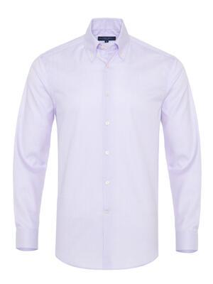Germirli - Germirli Non Iron Lila Beyaz Küçük Kareli Düğmeli Yaka Tailor Fit Journey Gömlek