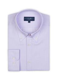 Germirli - Germirli Non Iron Lila Beyaz Küçük Kareli Düğmeli Yaka Tailor Fit Journey Gömlek (1)