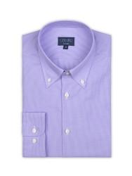 Germirli - Germirli Non Iron Lila Kareli Düğmeli Yaka Tailor Fit Gömlek (1)