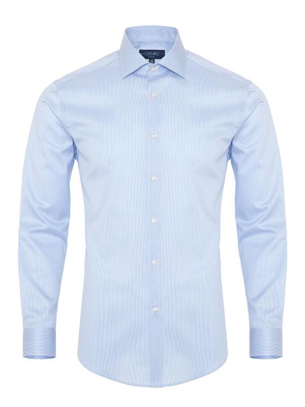 Germirli - Germirli Non Iron Mavi Beyaz Çizgili Klasik Yaka Tailor Fit Journey Gömlek