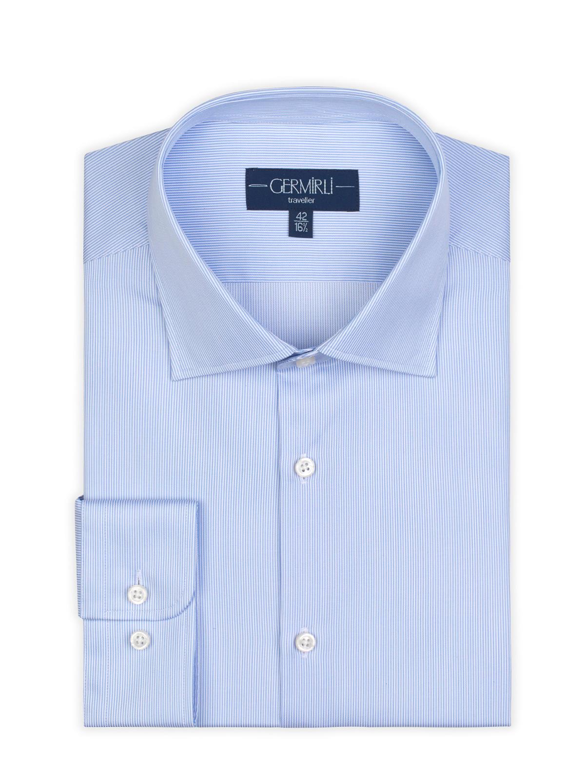 Germirli Non Iron Mavi Beyaz Çizgili Klasik Yaka Tailor Fit Journey Gömlek