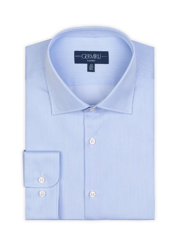 Germirli - Germirli Non Iron Mavi Beyaz Çizgili Klasik Yaka Tailor Fit Journey Gömlek (1)