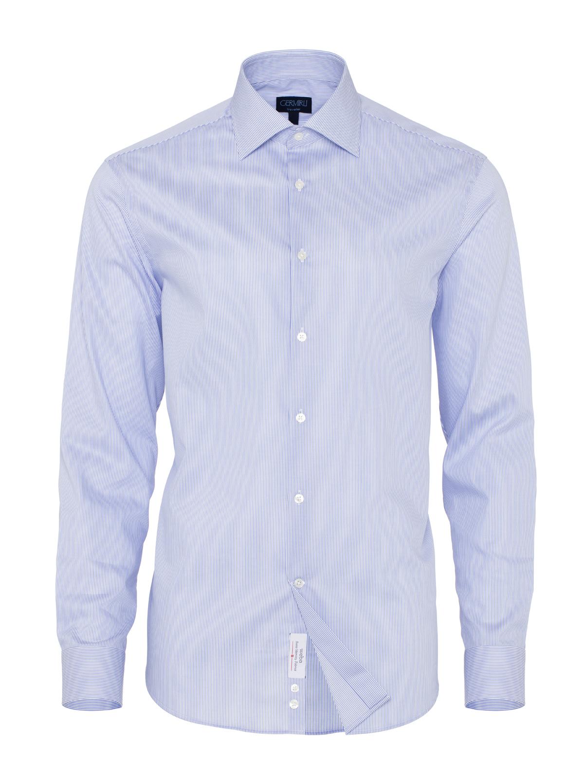 Germirli Non Iron Mavi Beyaz Çizgili Klasik Yaka Tailor Fit Swiss Cotton Gömlek
