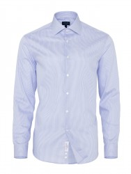 Germirli Non Iron Mavi Beyaz Çizgili Klasik Yaka Tailor Fit Swiss Cotton Gömlek - Thumbnail