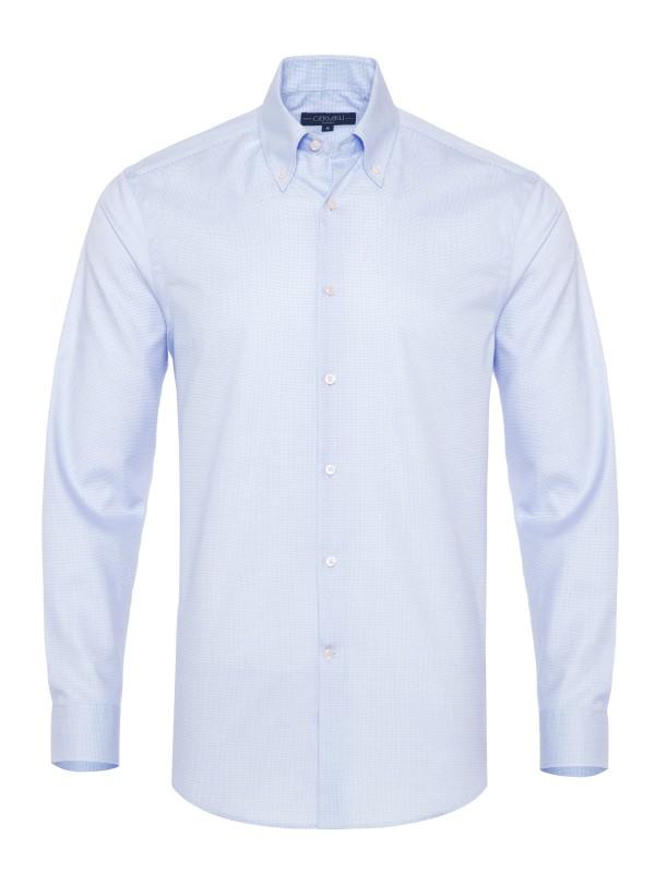 Germirli - Germirli Non Iron Mavi Beyaz Küçük Kareli Düğmeli Yaka Tailor Fit Journey Gömlek