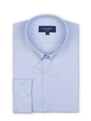 Germirli - Germirli Non Iron Mavi Beyaz Küçük Kareli Düğmeli Yaka Tailor Fit Journey Gömlek (1)