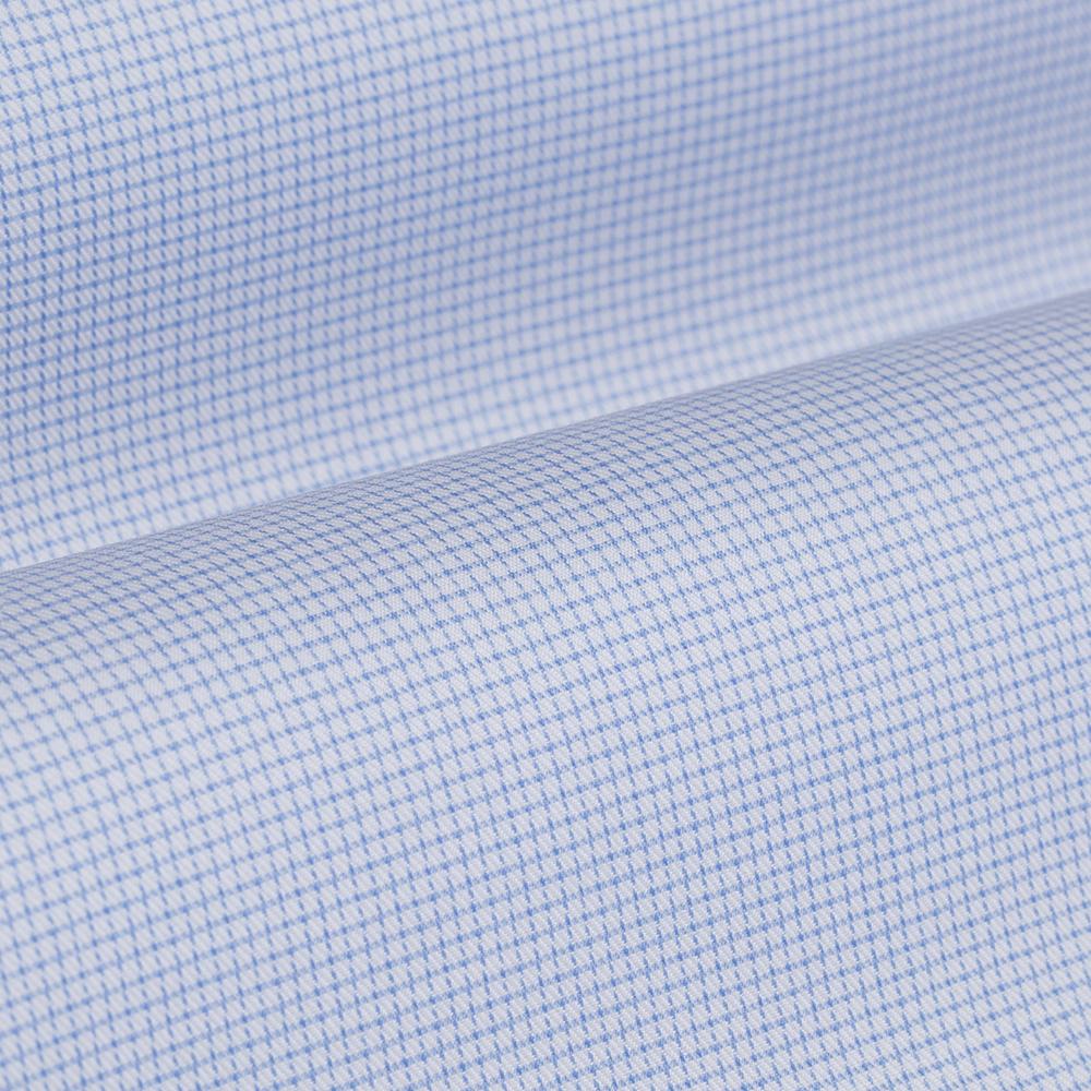 Germirli Non Iron Mavi Beyaz Küçük Kareli Düğmeli Yaka Tailor Fit Journey Gömlek