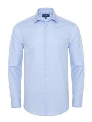 Germirli - Germirli Non Iron Mavi Beyaz Micro Desenli Klasik Yaka Tailor Fit Journey Gömlek