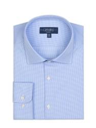 Germirli - Germirli Non Iron Mavi Beyaz Micro Desenli Klasik Yaka Tailor Fit Journey Gömlek (1)