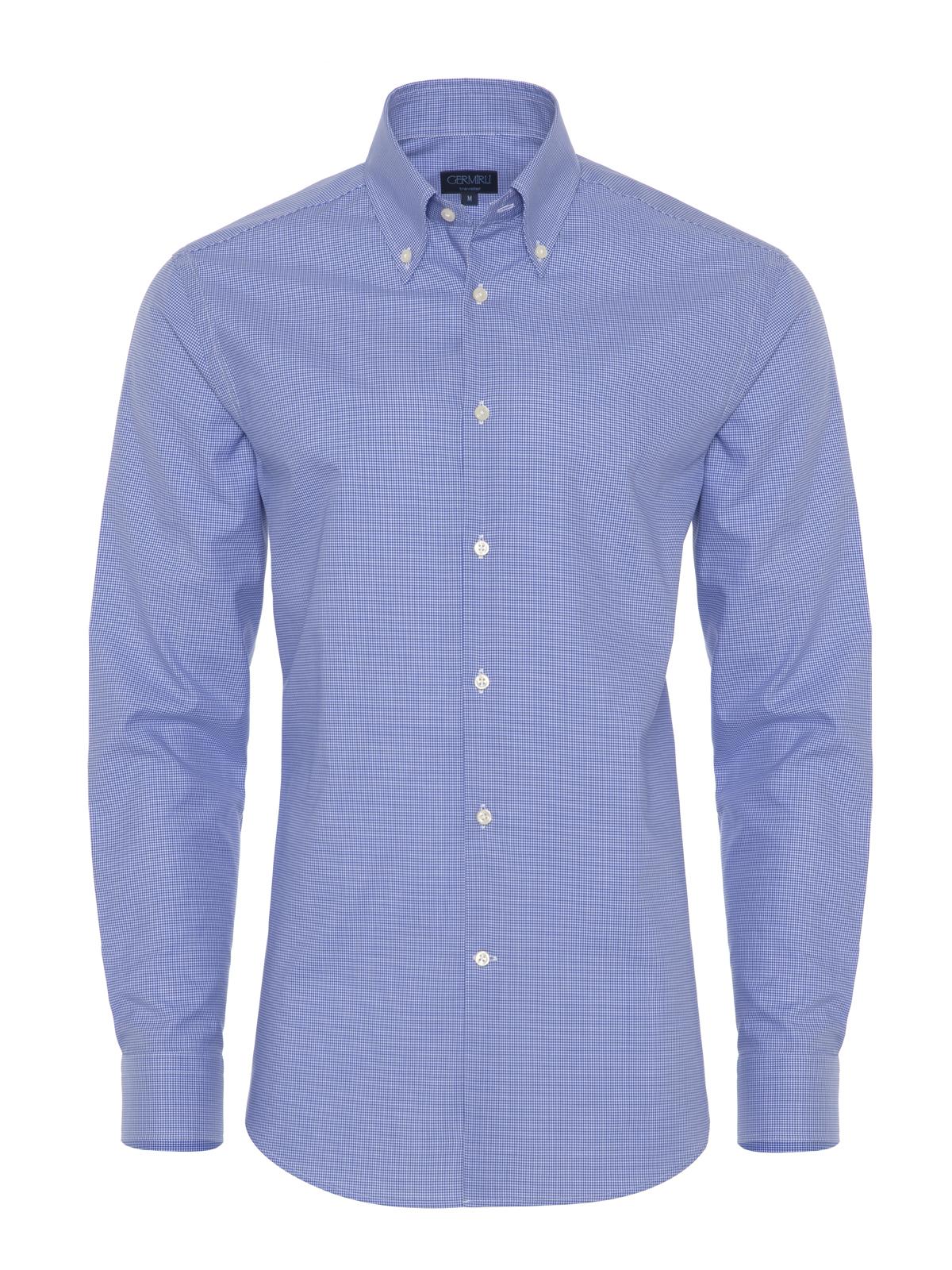 Germirli - Germirli Non Iron Mavi Kareli Düğmeli Yaka Tailor Fit Gömlek