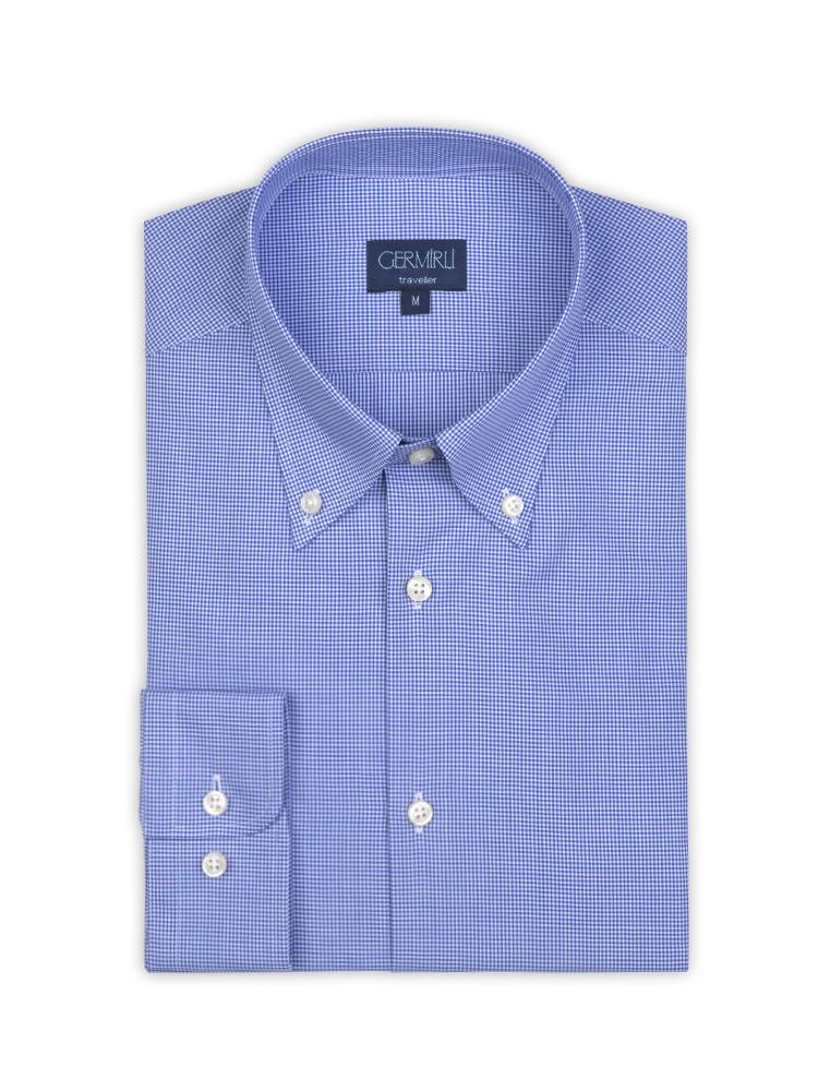 Germirli Non Iron Mavi Kareli Düğmeli Yaka Tailor Fit Gömlek
