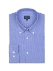 Germirli - Germirli Non Iron Mavi Kareli Düğmeli Yaka Tailor Fit Gömlek (1)