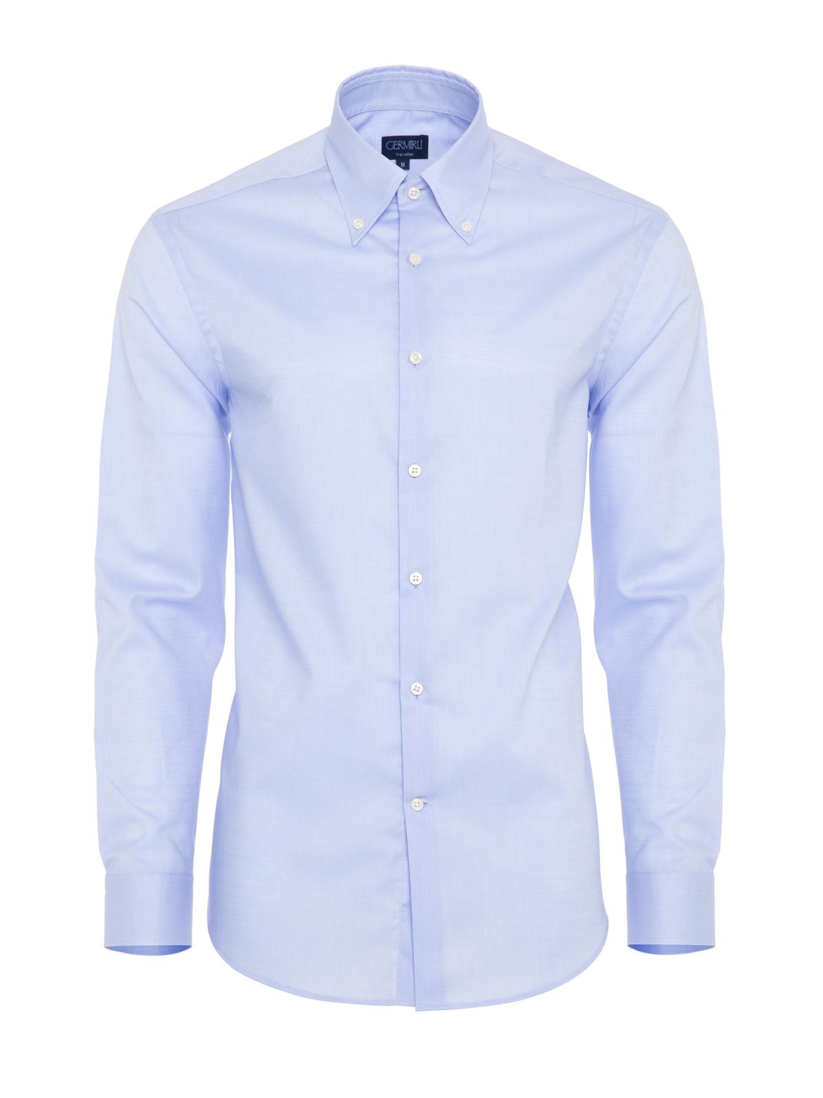 Germirli Non Iron Mavi Oxford Düğmeli Yaka Tailor Fit Gömlek