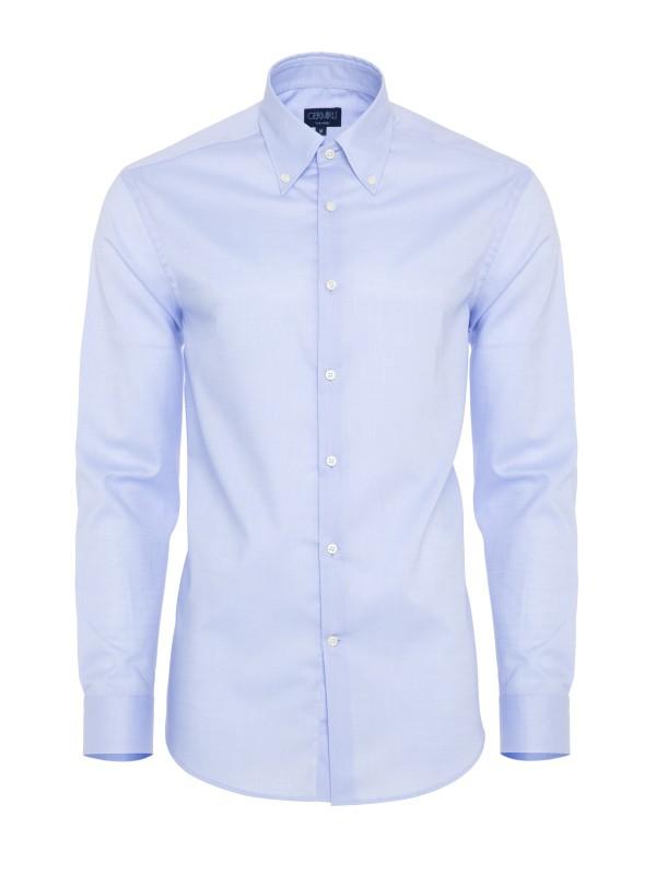 Germirli - Germirli Non Iron Mavi Oxford Düğmeli Yaka Tailor Fit Gömlek
