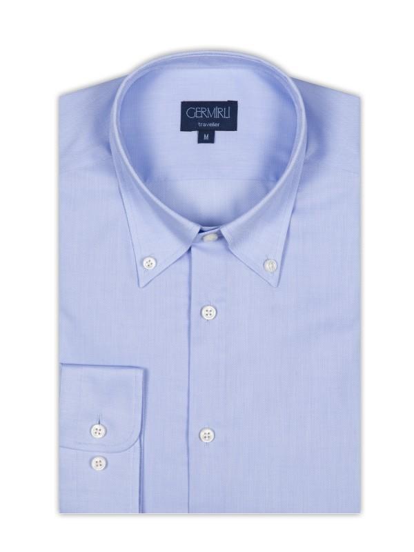 Germirli - Germirli Non Iron Mavi Oxford Düğmeli Yaka Tailor Fit Gömlek (1)