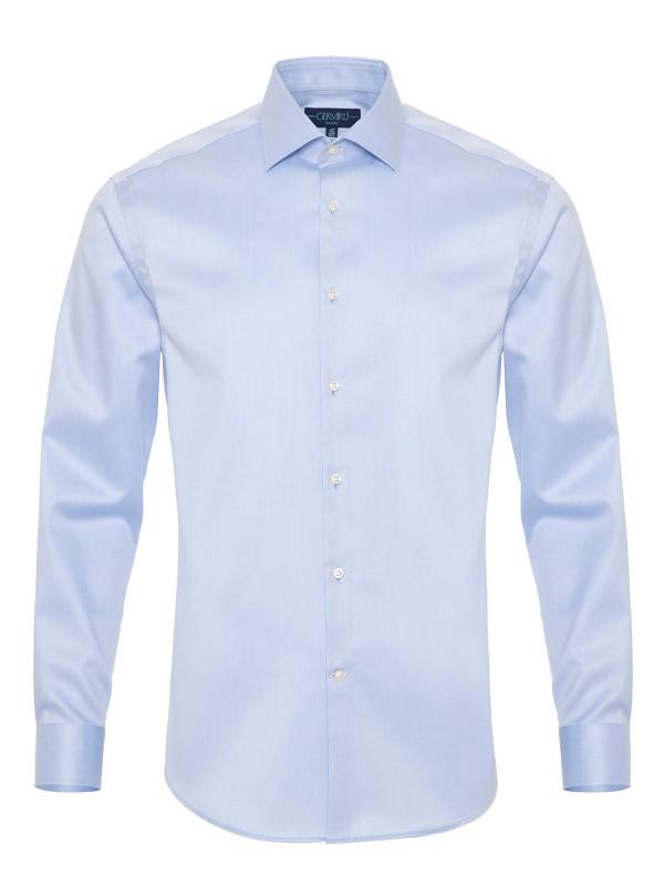 Germirli - Germirli Non Iron Mavi Oxford Klasik Yaka Tailor Fit Journey Gömlek
