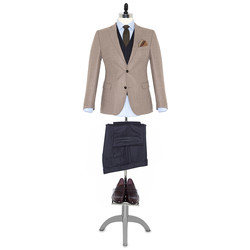 Germirli Non Iron Oxford Mavi Klasik Yaka Tailor Fit Journey Gömlek - Thumbnail