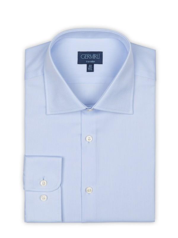 Germirli - Germirli Non Iron Oxford Mavi Klasik Yaka Tailor Fit Journey Gömlek (1)