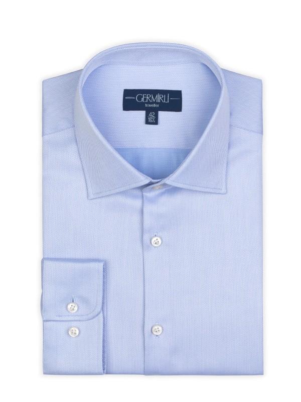 Germirli - Germirli Non Iron Mavi Oxford Semi Spread Tailor Fit Journey Shirt (1)