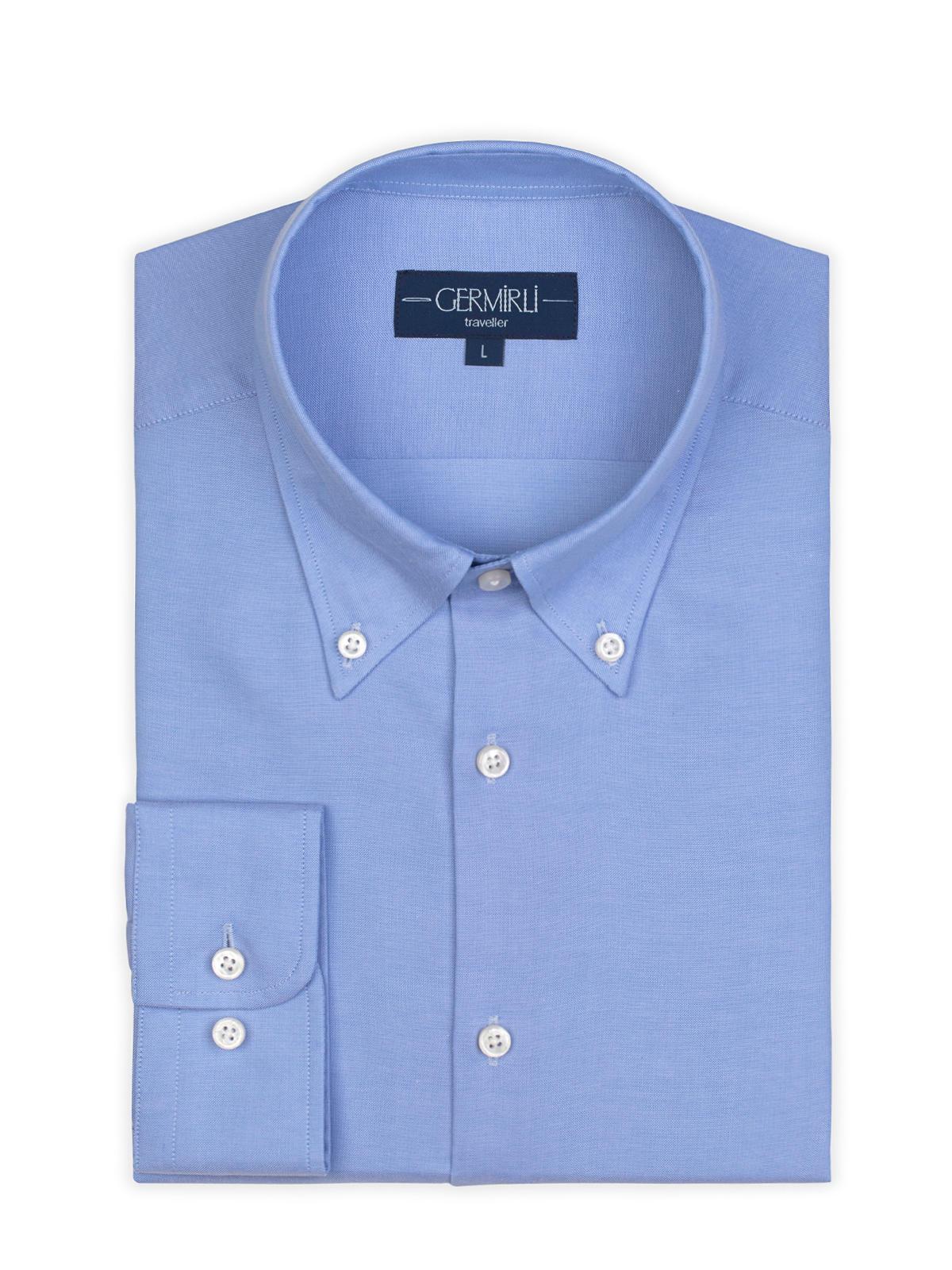 Germirli Non Iron Mavi Panama Düğmeli Yaka Tailor Fit Zero 24 Gömlek