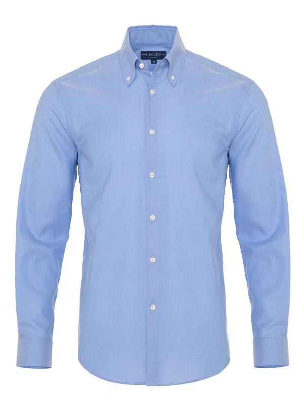 Germirli - Germirli Non Iron Mavi Panama Düğmeli Yaka Tailor Fit Zero 24 Gömlek