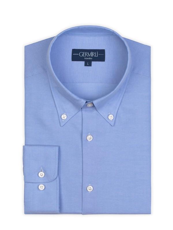 Germirli - Germirli Non Iron Mavi Panama Düğmeli Yaka Tailor Fit Zero 24 Gömlek (1)