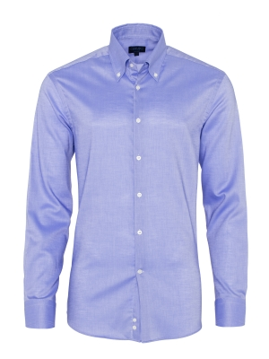 Germirli - Germirli Non Iron Mavi Panama Düğmeli Yaka Tailor Fit Gömlek
