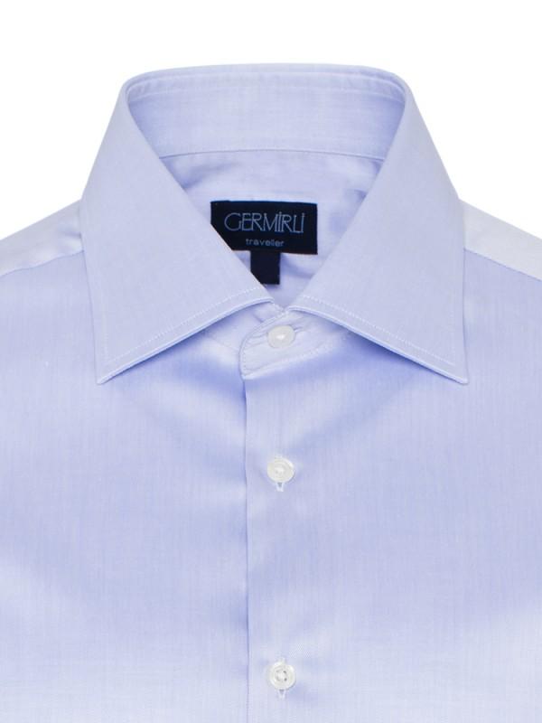 Germirli - Germirli Non Iron Mavi Twill Klasik Yaka Tailor Fit Gömlek (1)