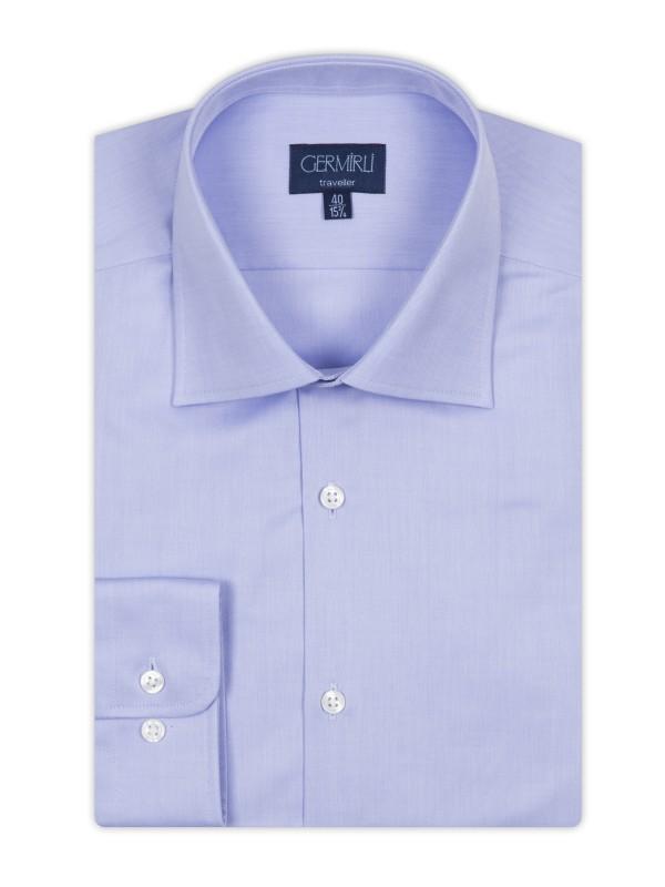 Germirli - Germirli Non Iron Mavi Twill Klasik Yaka Tailor Fit Journey Gömlek (1)