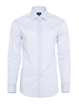 Germirli - Germirli Non Iron Navy Blue Pencil Stripe Semi Spread Tailor Fit Shirt