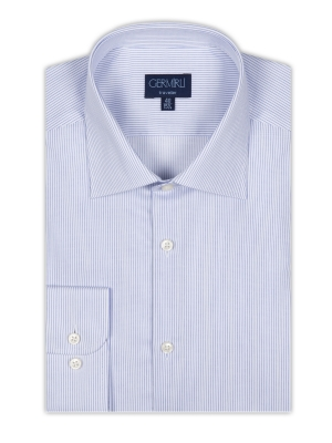 Germirli - Germirli Non Iron Navy Blue Pencil Stripe Semi Spread Tailor Fit Shirt (1)