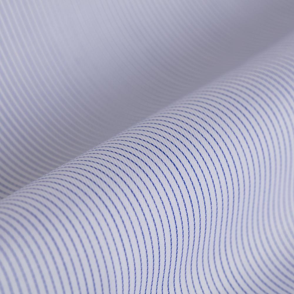 Germirli Non Iron Navy Blue Pencil Stripe Semi Spread Tailor Fit Shirt