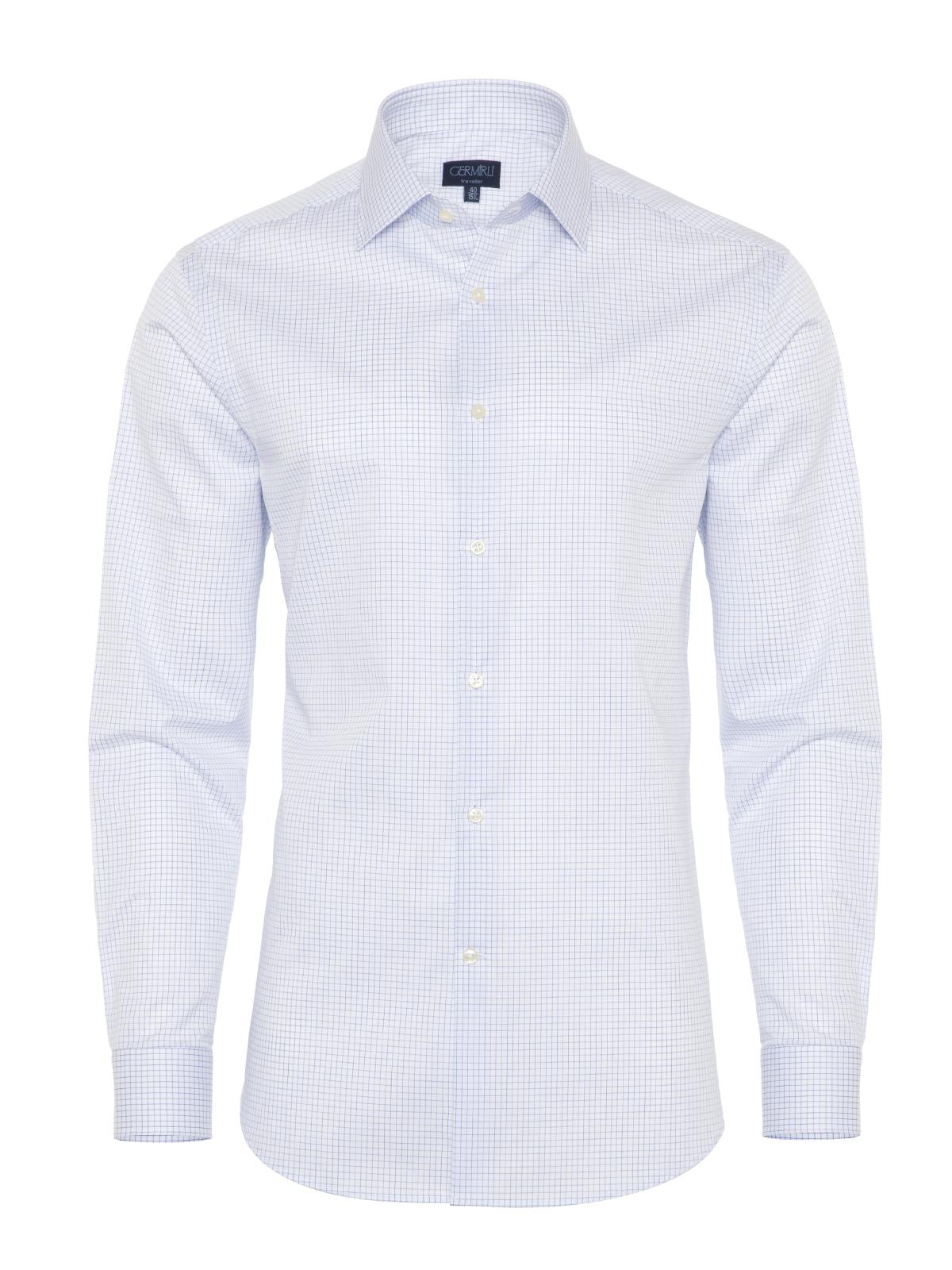 Germirli - Germirli Non Iron Navy Blue Plaid Semi Spread Tailor Fit Shirt